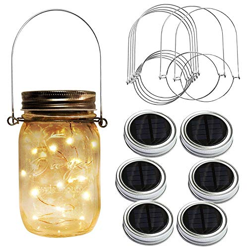 Huatuo Solar Garden Fairy Light Paquet De 6 Solar Solar Mason Jar 2 Mètres  20 Lampes
