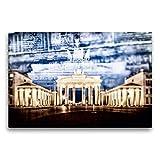 CALVENDO Tela in Tessuto Premium 75 cm x 50 cm Orizzontale, Berlin Porta di Brandeburgo nel Dettaglio - Immagine da Parete su Telaio, Stampa su Tela Illuminazione Decorativa Multipla Orte