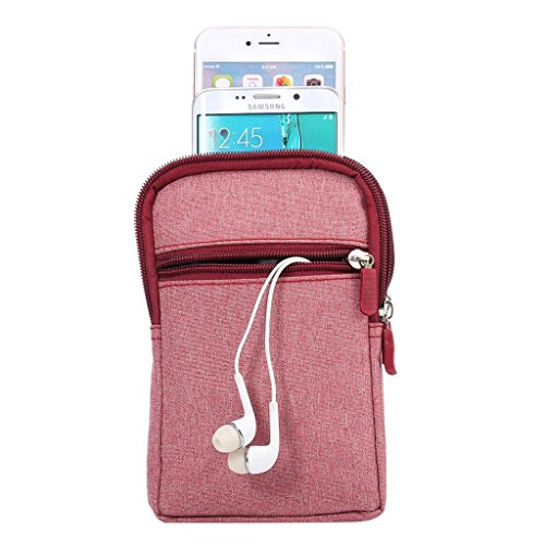 DFV mobile - Universal Multi-functional Vertical Stripes Pouch Bag Case Zipper Closing Carabiner for =>                     APPLE IPHONE 6 PLUS [5,5] > Brown (17 x 10.5 cm) Red (17 x 10.5 cm)