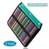 YOUSHARES 54 fentes crayon Sleeve - Crayons à anneaux page Compatible avec 216 logements Trousse pour crayons d'aquarelle, stylo à encre gel et brosse Cosmétique (Vert)
