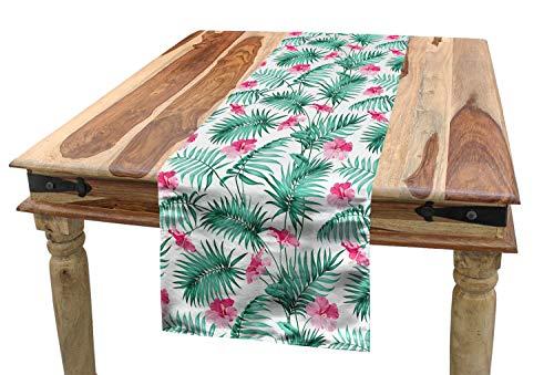 ABAKUHAUS Aquarell Tischläufer, Tropische Farne Blumen, Esszimmer Küche Rechteckiger Dekorativer Tischläufer, 40 x 180 cm, Seafoam Rosa (Seafoam Tischdecken)