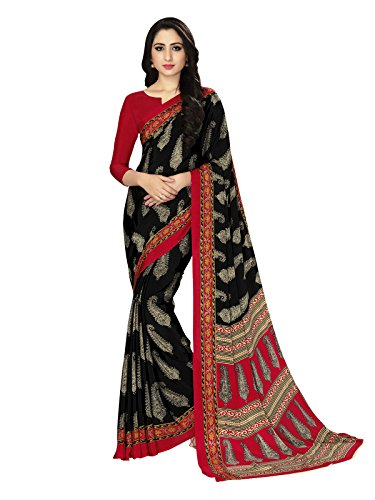 Varayu Women's Crepe Casual Wear Ethnic Printed Saree With Unstitched Blouse(Black,690SJ518)