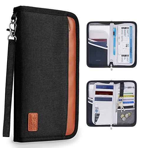 MyGadget Reisepasshülle RFID Schutz Pass Hülle - Dokumente, Geld, Flugticket Reisemappe Ausweistasche - Reiseorganizer Tasche für Flugzeug Reise - Schwarz -