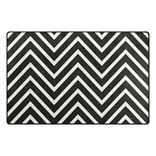 Bennigiry Schwarz Weiß Chevron Bereich Teppich Teppich Rutschfeste Eintrag Bodenmatte Fußmatten für Wohnzimmer Schlafzimmer 78,7 x 50,8 cm (Chevron Läufer Teppich Schwarz)