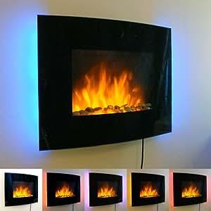 elektrischer wandkamin mit flammenambiente glas front gebogene form led backlight in 7 farben. Black Bedroom Furniture Sets. Home Design Ideas