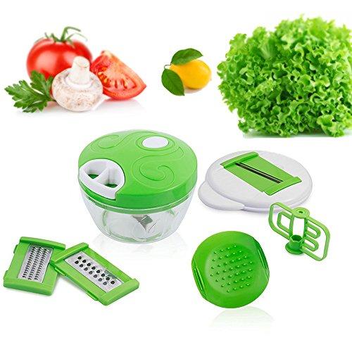 Tritatutto manuale-taglia, sminuzza, affetta frutta, verdura e molto altro,mandolina multifunzione 6 in 1 per affettare verdure da