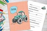 Deingastgeschenk 8 Stück Einladungen Kindergeburtstag Traktor (Passende Mitgebseltüten ASIN:B07JFMJKPF)