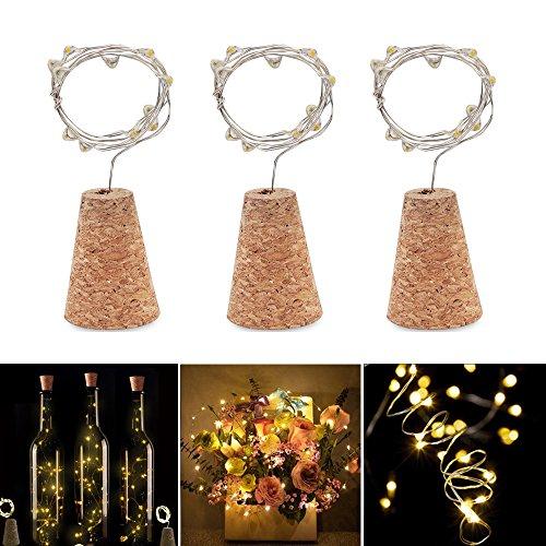 inflasche Lampe 3 Stück String Lichter 3 Modi von Licht IP65 Wasserdichte Real Cork Form der Korken Licht Mini Lichterkette für Flasche DIY, Party, Weihnachten, Halloween, Hochzeit, Beleuchtung Deko (Warmweiß) (Halloween-lichter Weg)