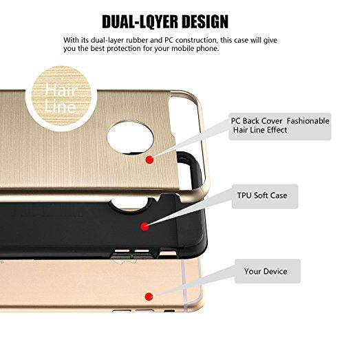 tinxi®Höhequalität Schutzhülle für Apple iPhone 7 4,7 Zoll Hülle Rutschfest Shock Proof Rück Schale Cover Case Schutz aus PC RückSchale mit silikon Rand sowie Innenschale Gold(sofort lieferbar) Gold