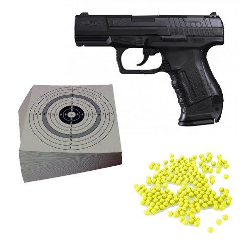 ShoXx.® Set (P14): Walther P99 Softair Pistole 0,5 Joule mit Ersatzmagazin (2.5543) + 1.000 Schuss ShoXx.® BB Kal. 6 mm / 0,12g + 10 ShoXx.® shoot-club Zielscheiben 14x14 cm mit zusätzlichen grauen Ring und 250 g/m² des Herstellers Shoxx Walther