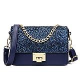 Maod Mode Umhängetasche Damen schultertasche leder handtasche klein henkeltasche Metallgriff Abendhandtasche (Blau)