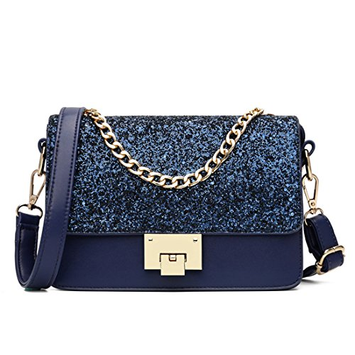 Maod Mode Umhängetasche Mädchen Taschen Damen Schultertasche leder Handtasche klein Damenhandtasche Metallgriff Henkeltasche Abendhandtasche (Blau)