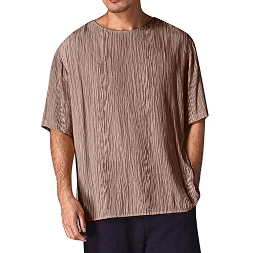 Knowin T-Shirt Herren Kurzärmliges Herrenhemd aus Leinen Classics Herren Kapuzenpullover Basic Sweat 019 Neueste Modell Herren Poloshirt Kurzarm Klassisches Basic T-Shir hochwertigem -