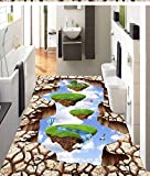 Vitila Bodenaufkleber Wohnkultur Wohnzimmer Wandaufkleber Schlafzimmer Badezimmer Wandbilder Kreative Persönlichkeit 3D Aufkleber Luft Schwimmende Insel Selbstklebende Plakate Pvc Entfernbare Tapete