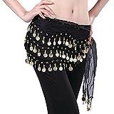 LQZ (TM) Orientalischer Tanz-Gürtel, Bauchtanz, Ethnische Seide, Schal, Halstuch, für Damen und Mädchen, Schwarz