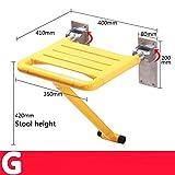 NAERFB Barrierefreie Sicherheit Klappstuhl Altes Badezimmer Badewanne Dusche ändern Schuhe Armlehne Stuhl Stuhl Badezimmer Sitzung Sitzhocker (Farbe: Gelb, Stil: E)