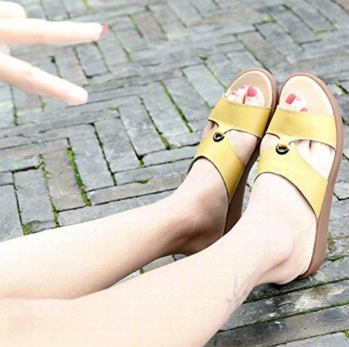 Sommer Sandalen flache Sandalen und Pantoffeln stellt Fuß mit schwerem Boden Strand Pantoffeln Frauen Camel
