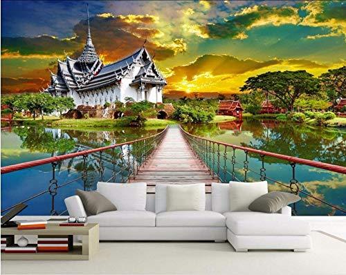 Wxlsl Benutzerdefinierte Mural Foto 3D Tapete Thai Architektonische Dekoration Malerei Bild 3D Wandbilder Tapete-150Cmx105Cm -