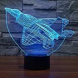 Uniquebella 3D Illusion optique, 7 couleurs changeant Visualisation incroyable, USB led lampe, Lampe d'ambiance-Avion de combat