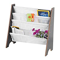 Zoternen Childrens Bookcase Sling Furniture Wooden+Polyester Bookcase Book Storage Display Rack Bookshelf With 4 Pockets