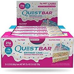 Quest Nutrition Protein Bar, Torta de cumpleaños, Proteína 21g, 5 g de carbohidratos netos, 180 Cals, Bar 2.1 oz, 12 Count, alta en proteínas, baja en carbohidratos, sin gluten, sin soja