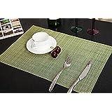PVC Table Mats/Place Mats/Drawer Mats/Fridge Mats/Multipurpose Mats/Refrigerator Mats/Dinner Mats/Dinning Mats/Kitchen Place Mats, 30x45cm, 6 Piece Set-(Green)