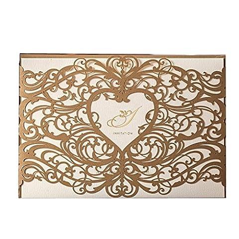 découpé au laser Invitation de mariage papier cartonné Kits Floral creux Coeur fête Cartes d'invitation avec enveloppe et mers de douche de mariage Baby Shower de mariage (20pcs Doré)