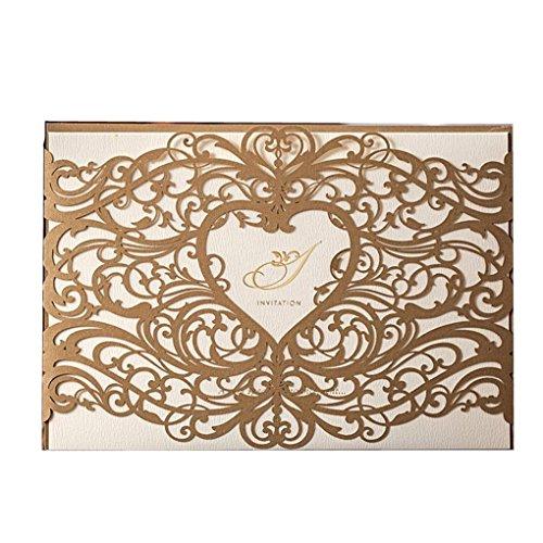 Laser geschnitten Hochzeit Einladungen tonkartons Kits Floral Hohl Herz Party Einladung Karten mit Umschlag und Meere Braut Dusche Baby Dusche Hochzeit (20Stück Gold) (Hochzeit Einladung-kit Braut)