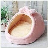 Lili Cama para Mascotas, caseta para Perro, Perro, cálida Cesta de cojín para Perros pequeños y medianos, tapete de Nido de Fresa para Gatos, Rosa, 45x41x28 cm