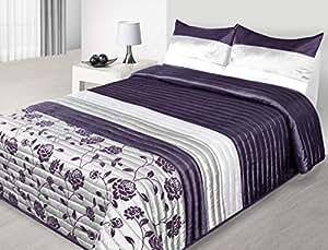 170x210 cm violett Tagesdecke Bettüberwurf mit Steppungen und 1 Kissenbezug 50x70 Satin Neuheit Schnäppchen Rosa