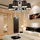 Lámpara cristal simple y elegante Lámpara de techo cristal de 6 piezas para sala de estar Lámpara de techo cristal moderna para dormitorio