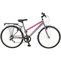 "FalconExpression 2016 Unisex Mountain Bike Pink/Grey, 19"" inch steel frame, 6 speed strong and lightweight alloy wheel rims front and rear v-brakes"