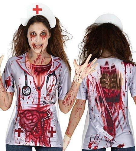 Fancy Me Damen Litho Bedruckt Toter Zombie Krankenschwester Blutig T-Shirt Top Halloween Kostüm Kleid Outfit