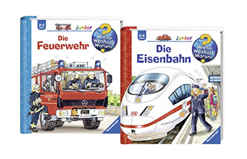 Preisvergleich Produktbild Ravensburger Junior Bücher Set - Wieso Weshalb Warum Die Feuerwehr und Die Eisenbahn