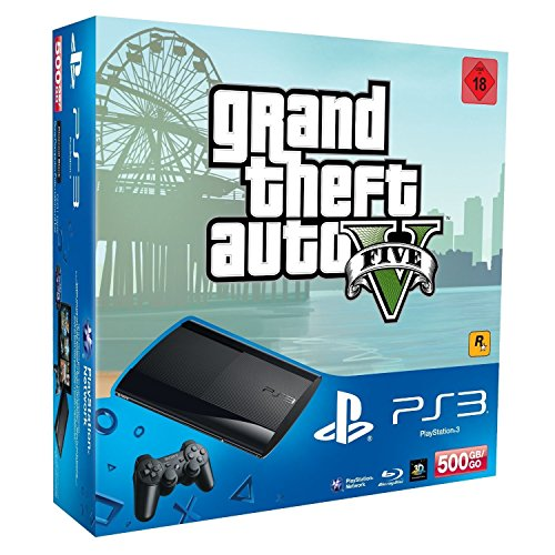 PlayStation 3 - Konsole Super Slim 500 GB (inkl. DualShock 3 Wireless Controller + GTA V) (Ps3 Konsolen)