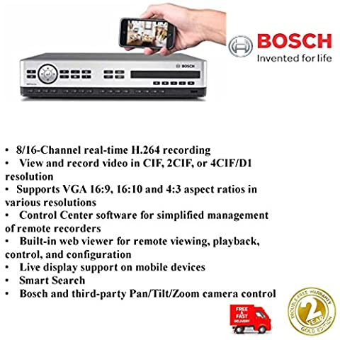 NEW Bosch 16 canaux DVR série 600 W/DVD/H.264 disque dur 4 To 2 x VGA – Mobile Visualisation