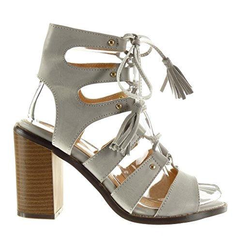 Angkorly - damen Schuhe Sandalen Stiefeletten - Römersandalen - Sexy - Fransen - Bommel - Nieten - besetzt Blockabsatz high heel 9.5 CM Grau