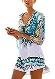 PassMe Copricostume Mare Donna Chiffon Stampato Floreale Camicetta Kimono Retro Costume da Bagno Vestito per Bikini Spiaggia Beachwear Tops