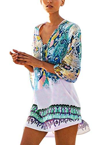 big sale acd94 1f680 Hikong Copricostume Mare Donna Costume da Bagno a Maglia Maglietta  Uncinetto con Nappe Camicetta Kimono Top Vestito per Bikini Spiaggia  Beachwear (one ...