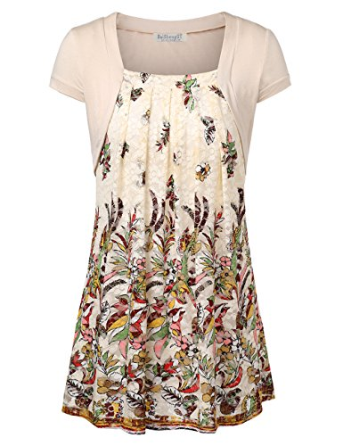 BaiShengGT Women's Floral Pleated Front Faux Twinset Tunic Top