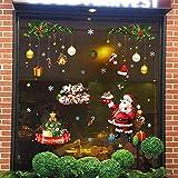 Tebrun Fensterbild Weihnachten Entfernbarer Wandaufkleber Wunderschöne Schneeflocken auf Rolle - mit Verschiedenen Motiven - Statisch Haftende PVC AufkleWeihnachtshaus - Weihnachtssticker Deko bunt