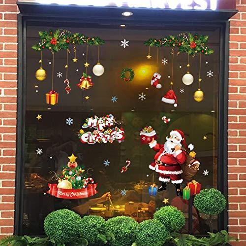 Natale Vetrofanie Rimovibile Adesivi per finestre con fiocchi Babbo Natale neve albero di Natale Decorazioni per Vetro Finestra la casa fai da te Vetrofanie per Natale Capodanno (4 fogli)
