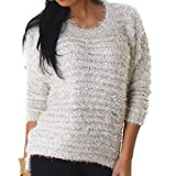 Jela London Damen Kuschel-Pullover Glitzer Sweater Fransen Stretch Feinstrick Häkel kuschelig weich warm Hüftschlitz, Creme-Weiß Silber Gold