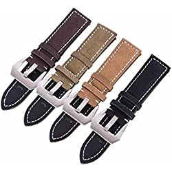 Interesting® Hight Quality Retro Matte Watch Strap Band Mens Genuine Leather Band Belt Steel Buckle