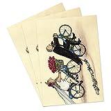 3er Set Hochzeitskarten mit lustigem Brautpaar auf Fahrrädern