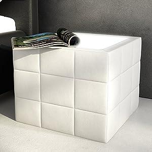 Nacht-Tisch LED gesteppt mit Plexiglas weiß 41x41 cm quadratisch | Boco | Design Nachtkommode mit Kunstleder weiss | Nachtkonsole für Ihr modernes Schlafzimmer | Für Boxspring-Bett oder Polster-Bett