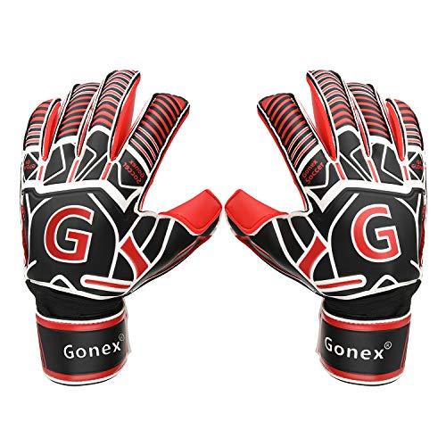 GonexTorwarthandschuhe mit Fingersave Pro-Level Männer Erwachsene Jugendliche und Erwach Kinder Gewährung von Starken Schutz für Finger 3.5mm Überlegen Grip 180° Thumb Wrap (ROT, 8)