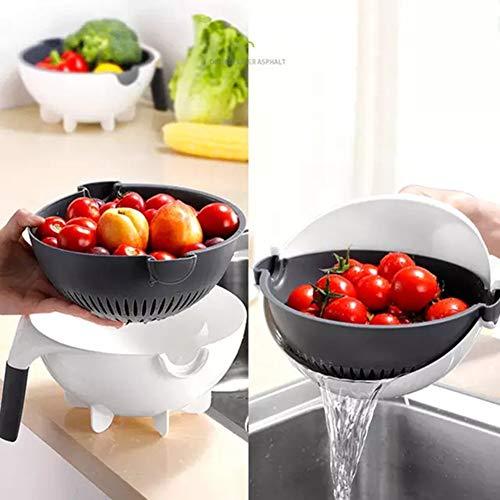 Entwässern Korb Zerkleinerer, Jiuhe Yi Vielseitig Vegetable Vorrichtung Drehen Sich Die Cutter, Ideal Für Die Küche