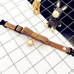 Mascota Gatos Perros ajustable Collar Corbata de moño collar de perlas Osito de peluche Adorno de cuello Accesorios personalizable , khaki , xs