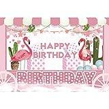 YongFoto 2,2x1,5m Vinyl Geburtstag Foto Hintergrund Herzlichen Glückwunsch zum Geburtstag Flamingos Kaktus Geschenke Rosa Trolley Fotografie Hintergrund Party Fotostudio Hintergründe Fotoshooting